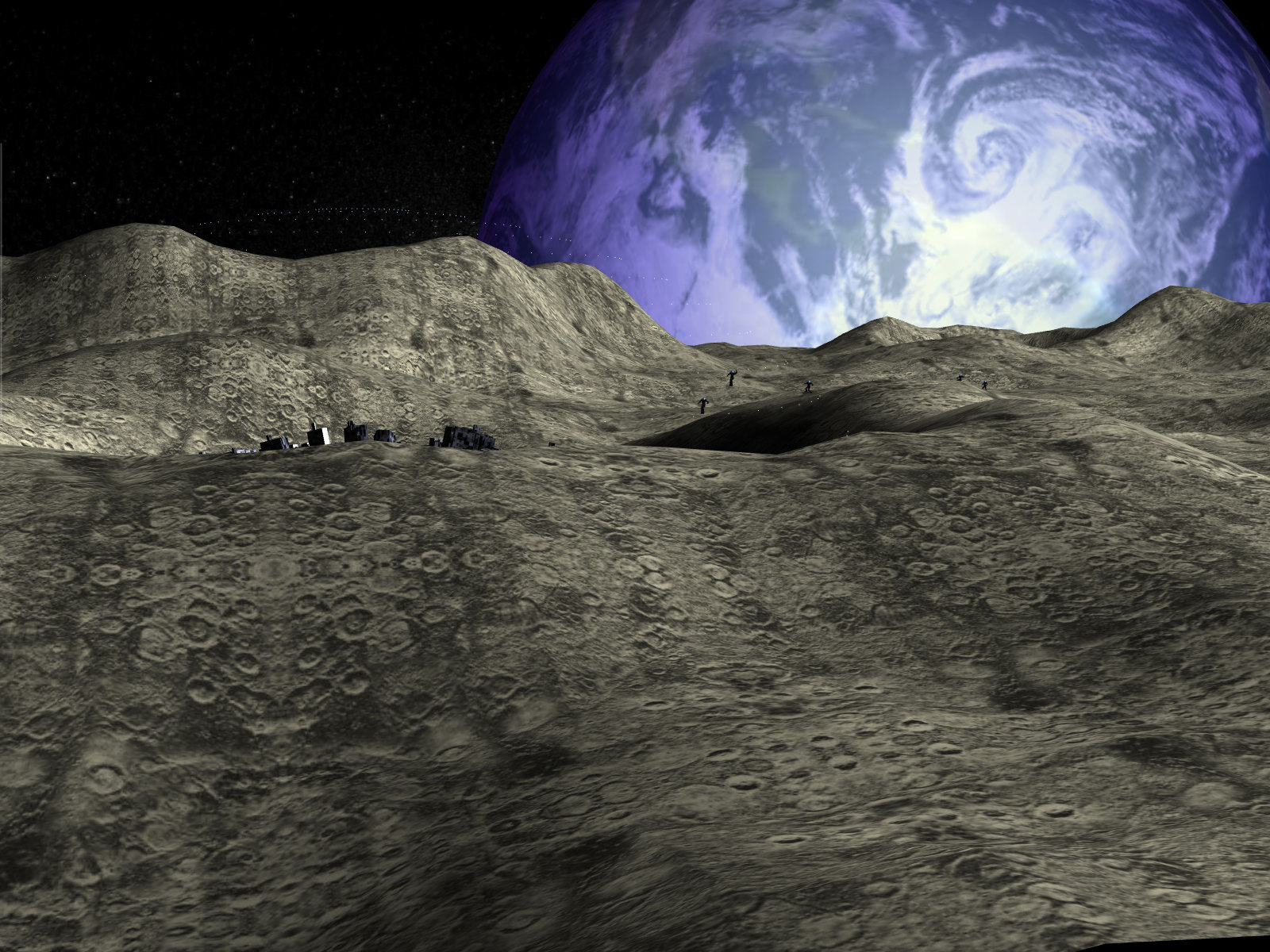 Moon base 3d screensaver experience the outer space for Space landscape