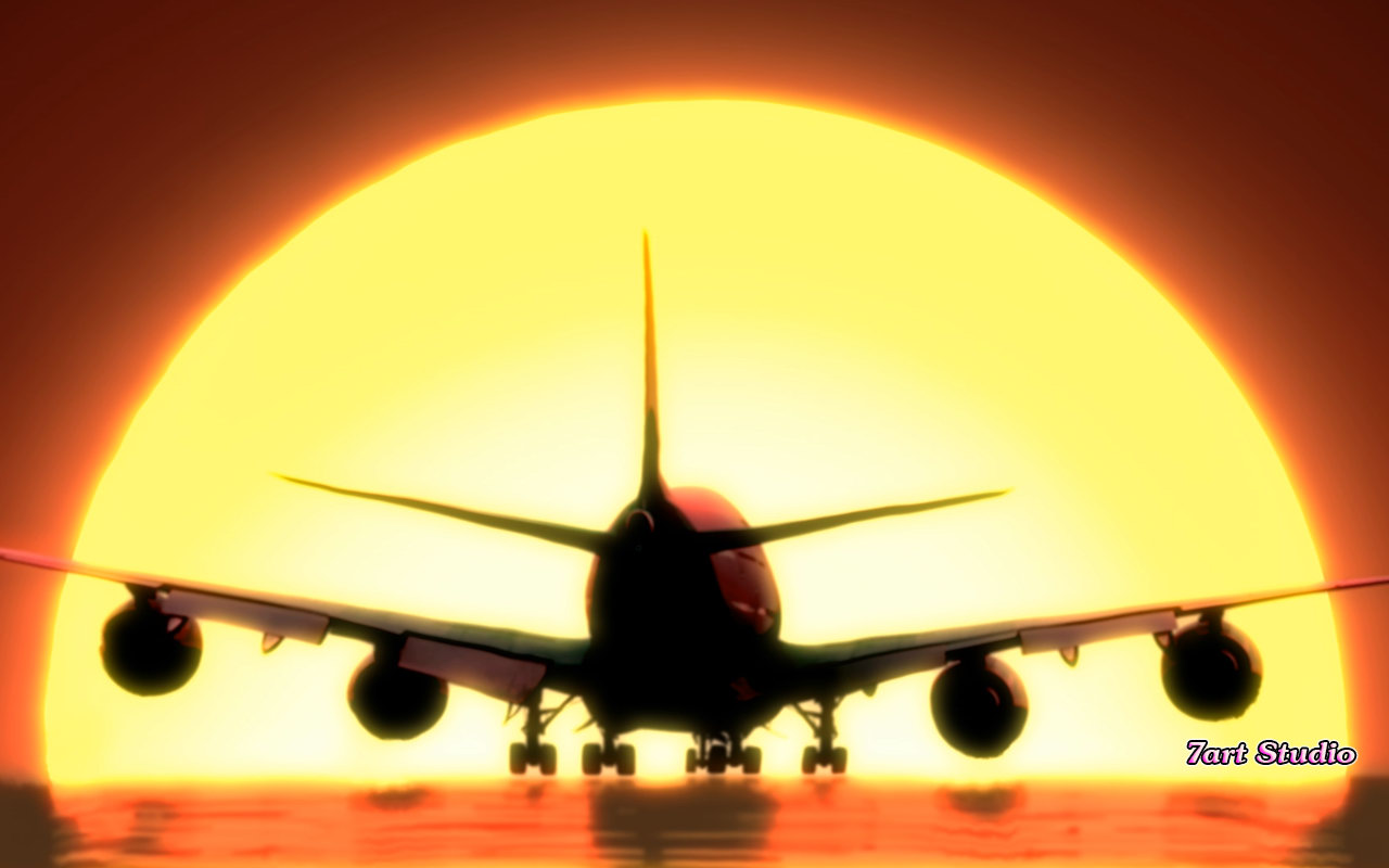 Airplane Sunset Landing Screensaver Animated Desktop Wallpaper