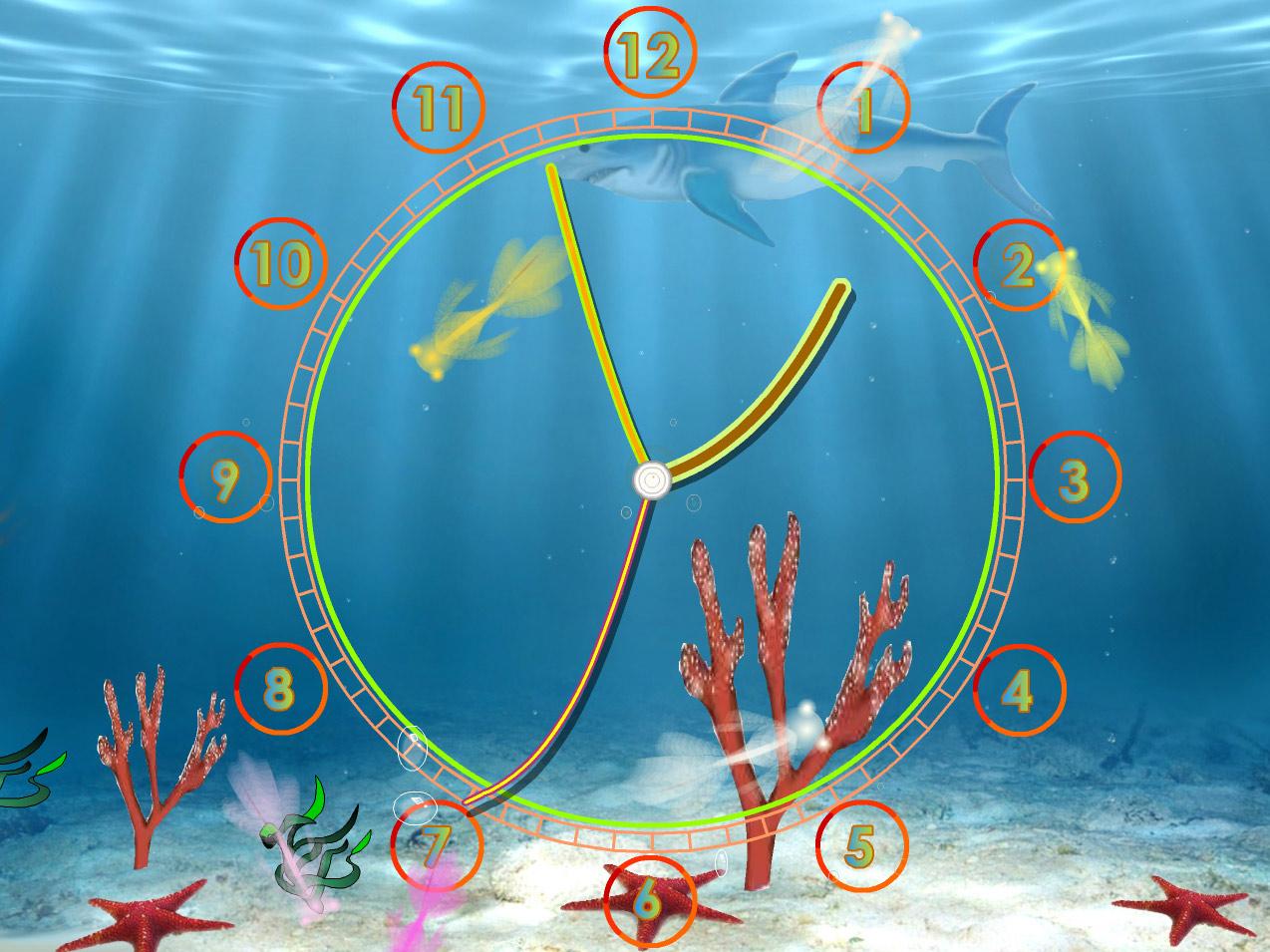 Calendar Clock Wallpaper : Aquarium clock screensaver: always know the current time with fun!