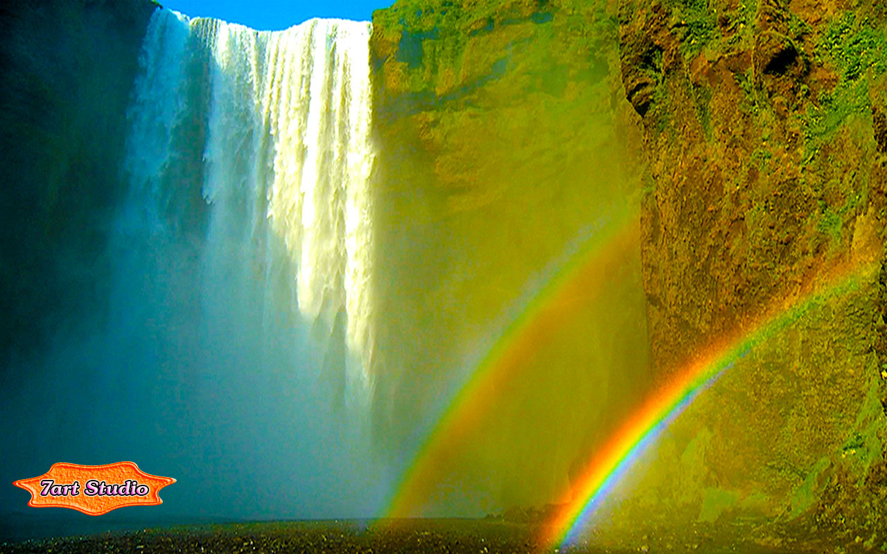Bright Rainbow Waterfall Screensaver Animated Desktop