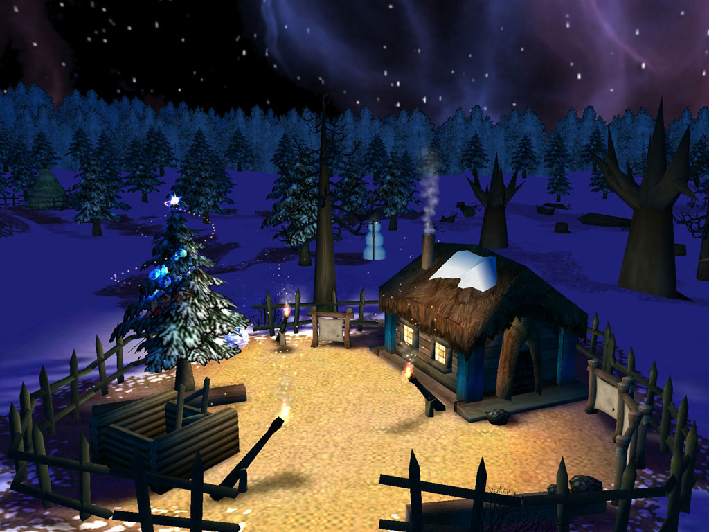Chritmas night 3d screensaver visit santa 39 s house and let for 3d wallpaper for your house