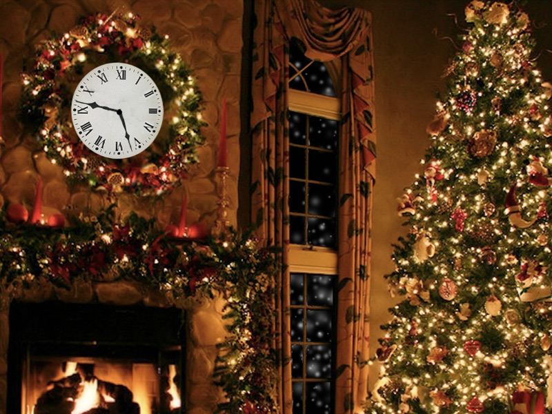 Christmas Decorated Fireplace Screensaver : Art christmas fireplace screensaver cozy festive