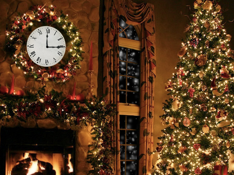 7art Christmas Fireplace Screensaver Cozy Festive Decoration With A Magic Christmas Clock