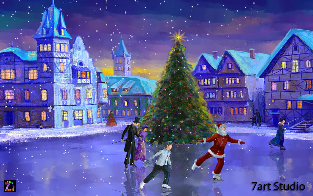 Skate Into The Christmas With This Beautiful Animated Winter Theme Favorite Characters Are Gliding Along Rink Screensaver And Live Wallpaper