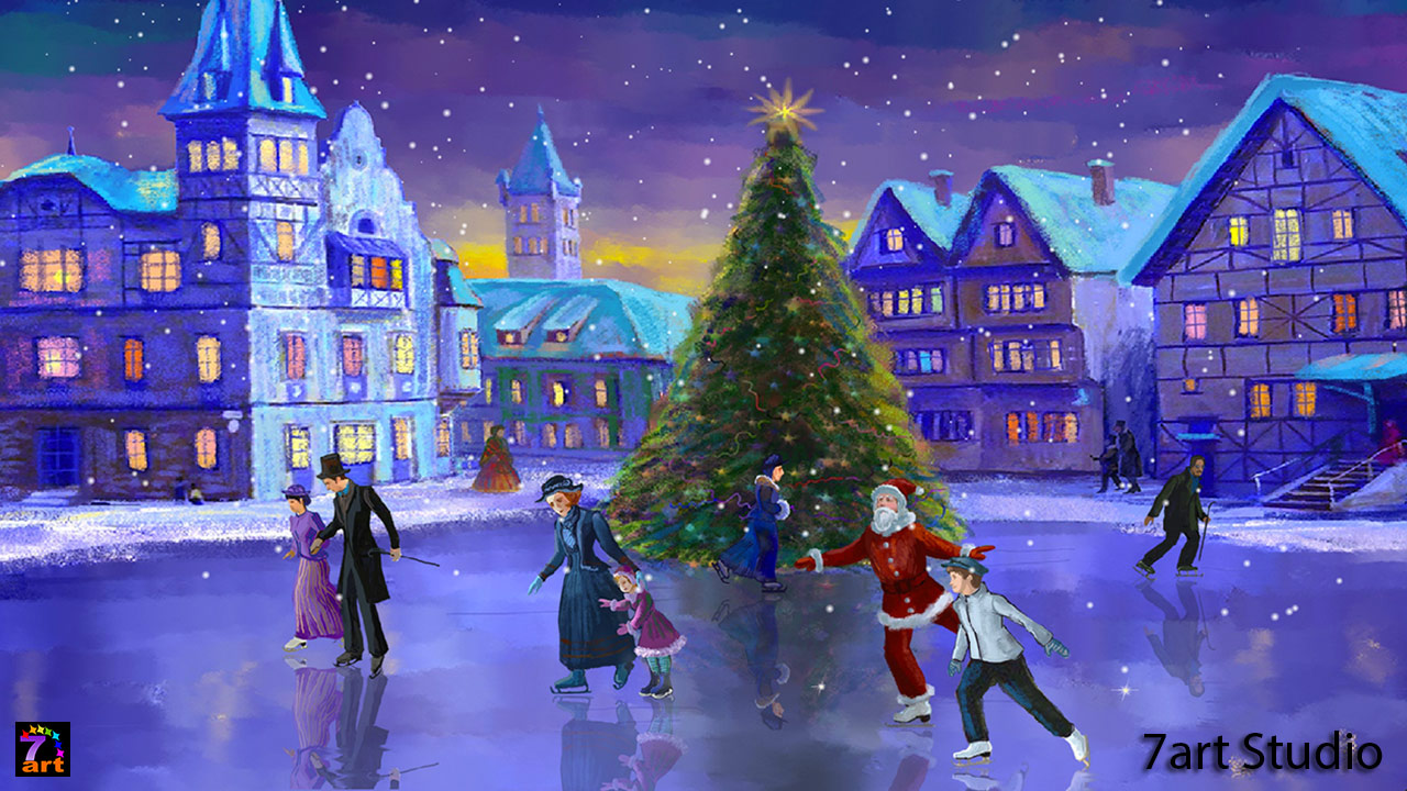 Christmas Rink screensaver and live wallpaper - your brilliant festive window into a fairy tale.