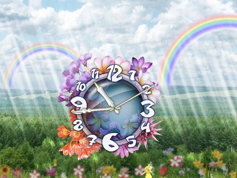 Cloudy Rainbow Flower Clock Screensaver