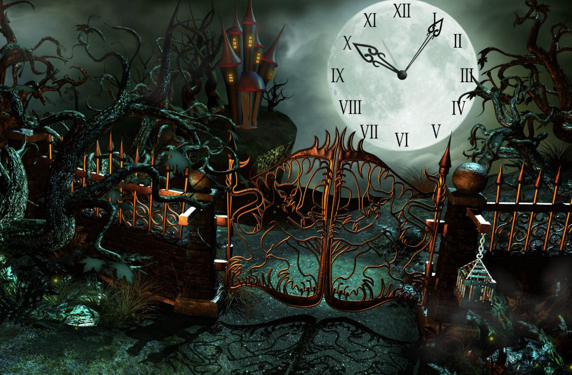 Fantasy Castle Clock ScreenSaver screenshot: screen,saver,screensaver,desktop,clock,image,picture,decorate,Welcome,mysterious,Fantasy,Castle,enigmas,curious,puzzles,secret path,opening before,eyes,challenging,chance,wonders