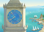 The ancient tower clock in a seaside town with crystal clear sky, sunny serene ocean, ships and yachts in a charming bay, little houses on a warm fertile land. Get into this magic world where the time is going slowly, nobody hurries up. Soft vivid colors calm your mind and make you feel good.