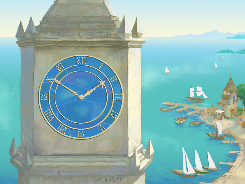 The ancient tower clock in a seaside town with crystal clear sky, sunny serene ocean, ships and yachts in a charming bay, little houses on a warm fertile land. Get into this magic world where the time is going slowly, nobody hurries up.