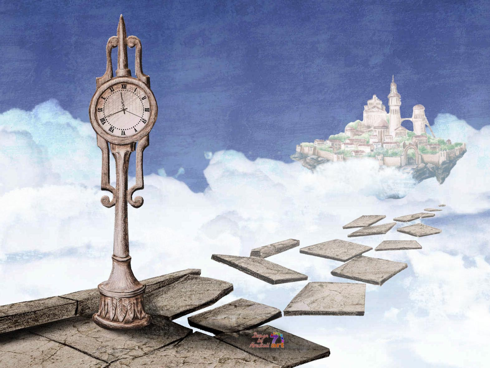 Laputa Flying Island Clock screensaver - magic staircase shows the