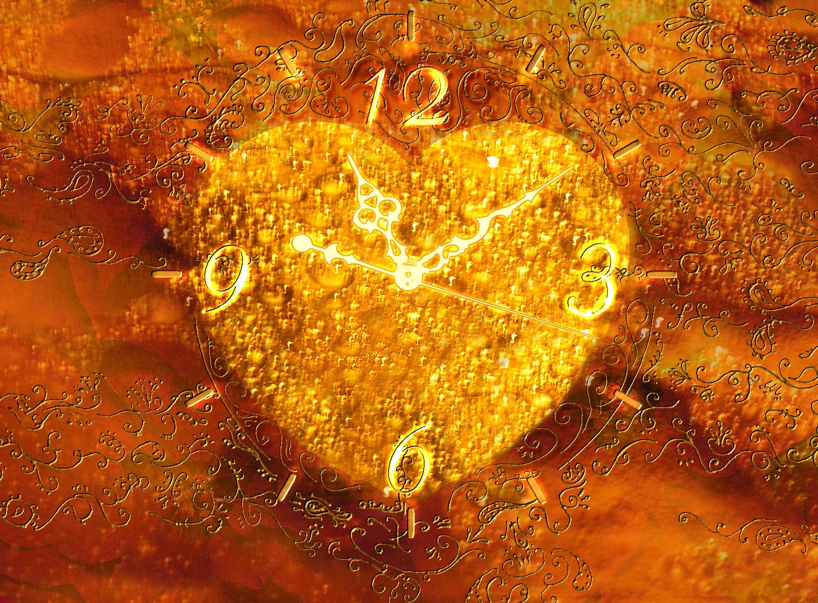 gold valentines heart Wallpaper clock vista