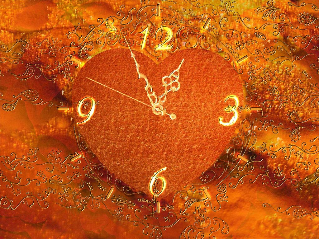 Gold Heart Clock ScreenSaver