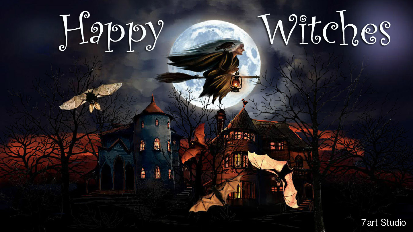 Itu0027s Right Time To Get On A Magic Broom And Fly High In The Sky. 7art Happy  Witches Screensaver And Live Animated Wallpaper ...