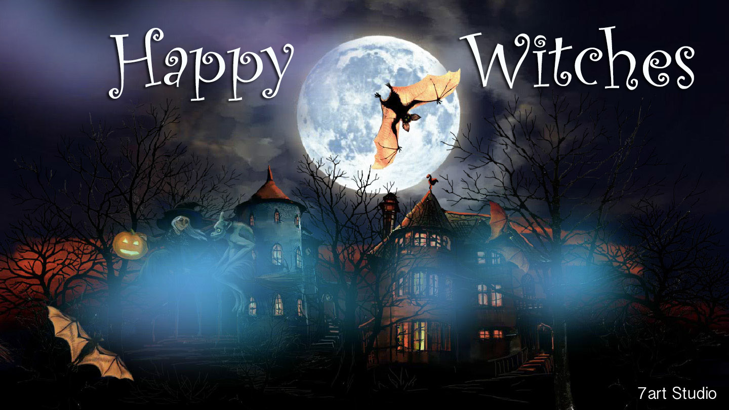 7art Happy Witches screensaver and live animated wallpaper for Windows and Android