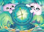 Alien Pets' Clock screensaver - download free screensaver. Get a couple of lovely pets at your screen!