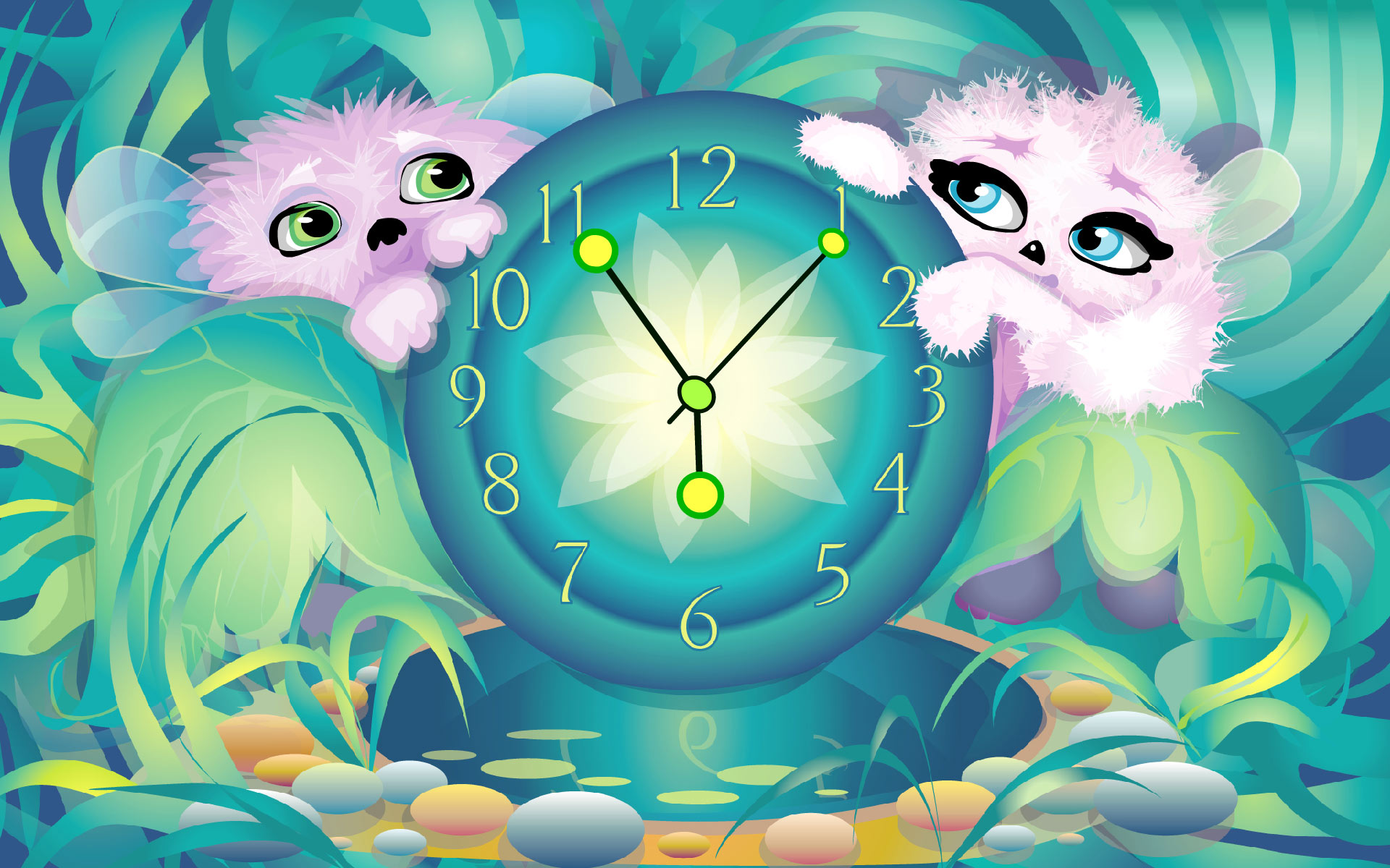 Alien Pets' Clock screensaver - download free screensaver.