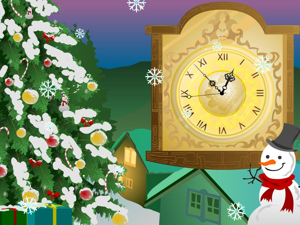 7art Snow Clock ScreenSaver