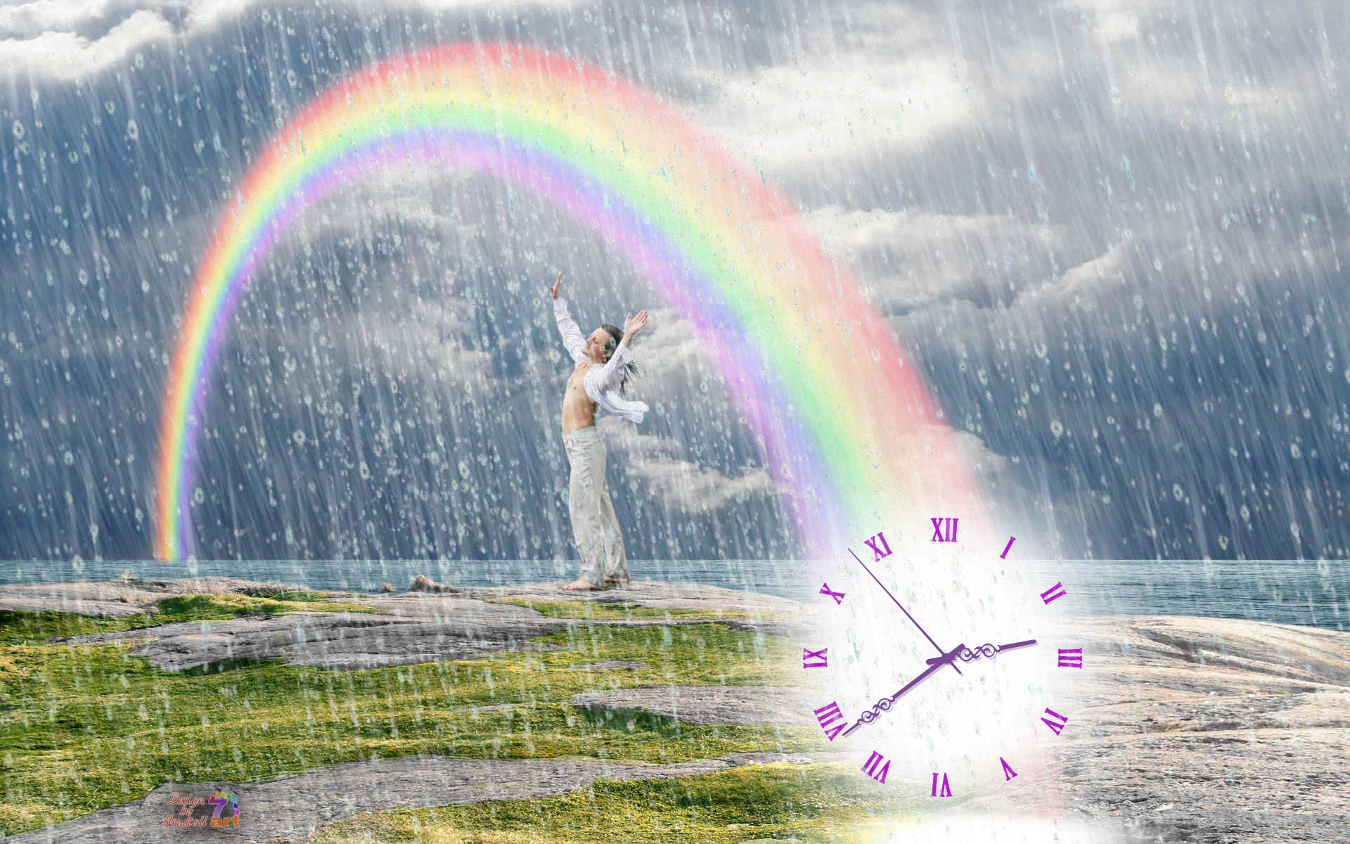 Summer Rain Clock screensaver