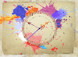 The Water Color Clock - Joyful blots of water color in your screensaver!