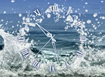 Water Element Clock screensaver - watch the bouncy splashes in the new clock!